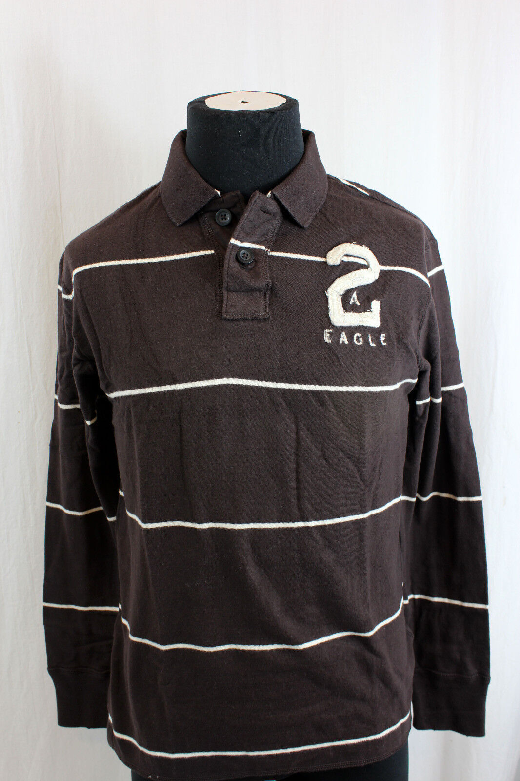 American Eagle AE New NWT Brown Stripe Polo Long Sleeve Shirt L Large M Medium