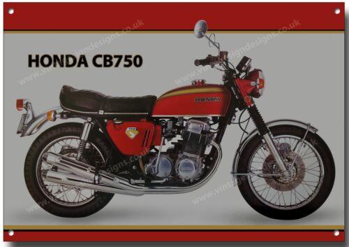 HONDA CB750 MOTORCYCLE METAL SIGN.JAPANESE VINTAGE FOUR CYLINDER MOTORCYCLE.red