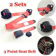 2x Red Adjustable Seat Belt Car Truck Lap Belt Universal 3 Point Safety Travel Fits Plymouth Breeze