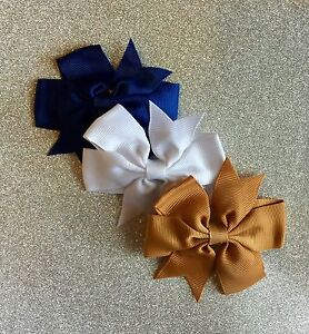 Striped Hair Bow 3 Color Options Navy Khaki Red Patriotic Girls Hair Bows Back to School Uniforms Monogram Initial