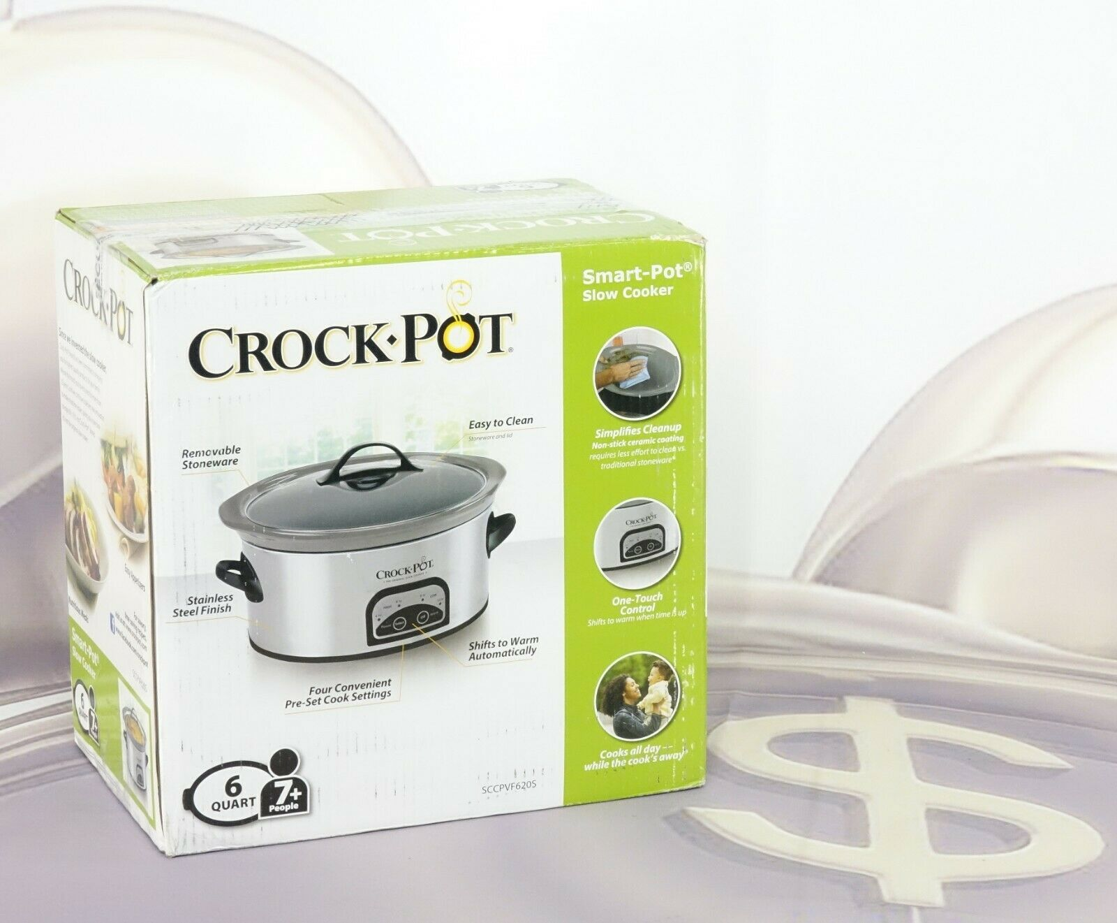 Crock-pot SCCPVF620S 6-Quart Smart-Pot Programmable Slow Cooker with Easy Clean Stainless Steel