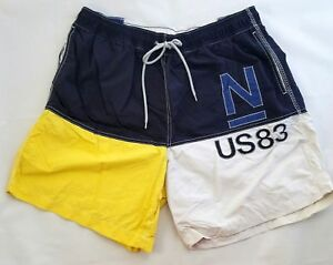 94ba98d9240e6 Image is loading Vtg-90s-Nautica-Colorblock-Spell-Out-Swimming-Trunks-