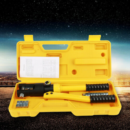 10 Ton Hydraulic Wire Crimper Crimping Tool Battery Cable Lug Terminal w//14 Dies