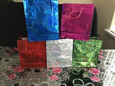 6pc All Occasions Holographic Gift Bags Mixed Colour 22x18 Cm Perfect Gift
