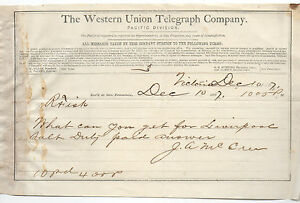 1867 receipt from the western union telegraph co san for Western union san francisco ca