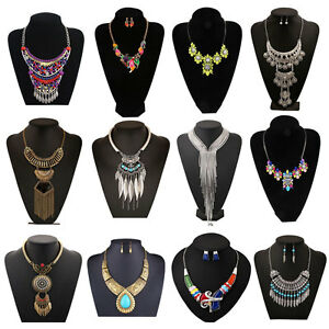 Vintage-Retro-Women-Bohemian-Crystal-Chain-Statement-Choker-Collar-Bib-Necklace