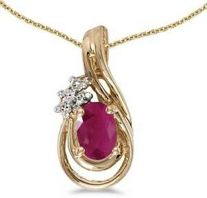 10k Yellow Gold Oval Ruby & Diamond Teardrop Pendant (Chain NOT included)
