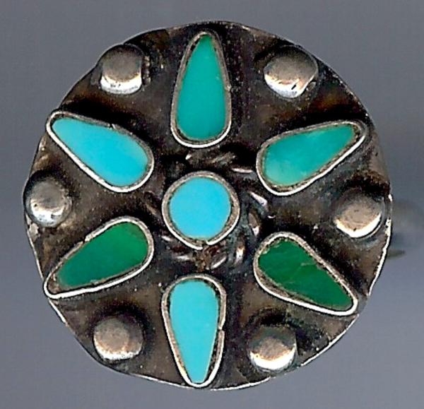 2019 Mode Vintage Navajo Indisch Blau & Grün Türkis Sterlingsilber Ringgröße 6