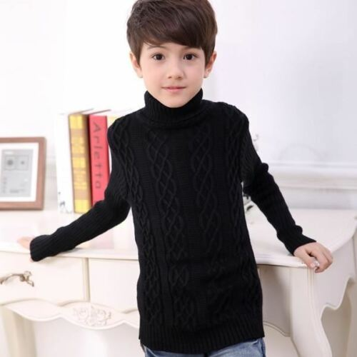 Boys Autumn Winter Clothing Teen Kids Fashion Turtleneck Sweater Children/'s Pull