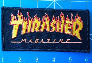 THRASHER FLAMES BIG LOGO BLACK PATCH, DRESS UP YO RAGGEDY ASS!