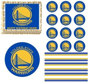 golden state warriors edible cake topper image cupcakes cookies cake topper ebay. Black Bedroom Furniture Sets. Home Design Ideas