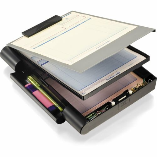 Officemate Recycled Double Storage Clipboard//Forms Holder Plastic Gray//Black ...
