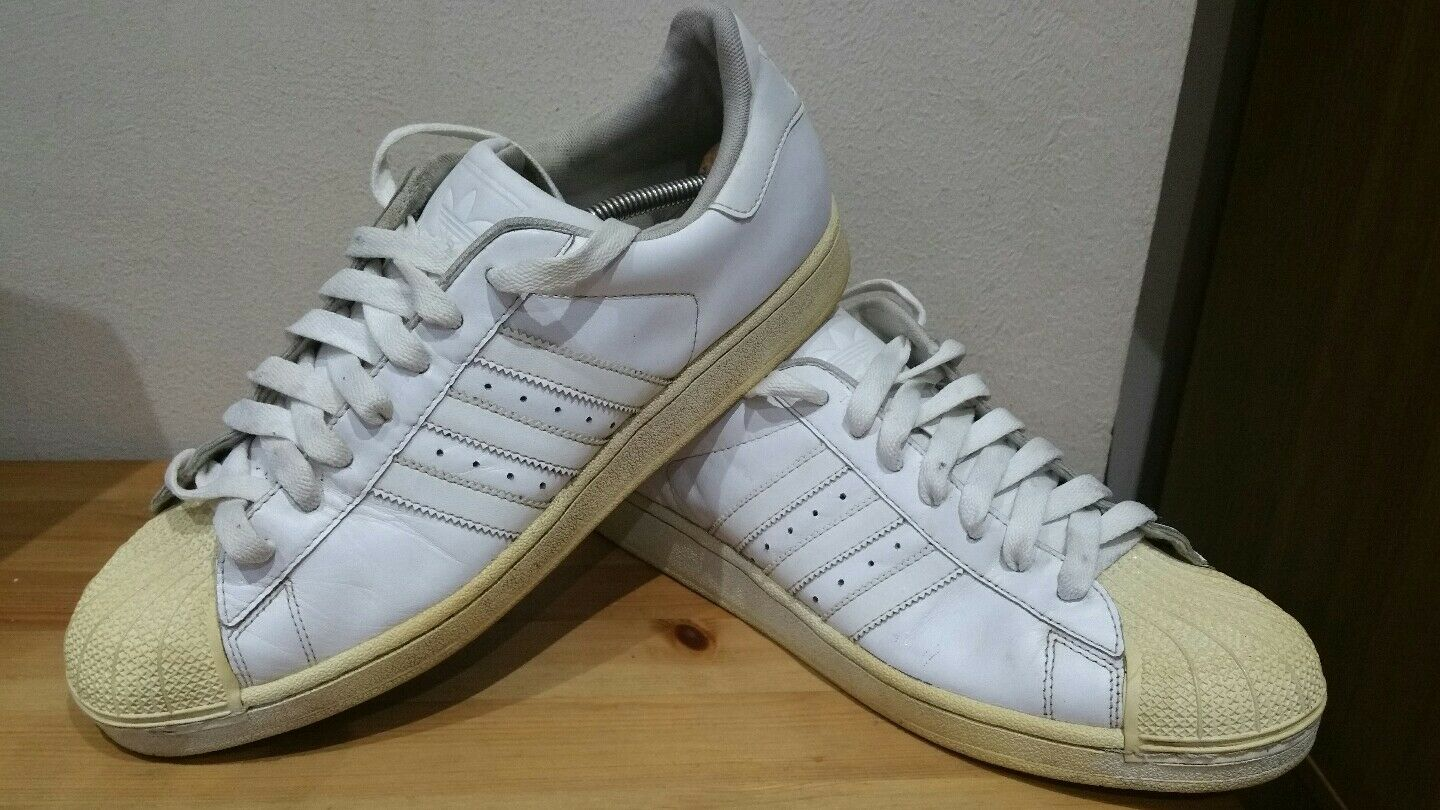 ADIDAS SUPERSTAR LEATHER ALL WHITE SIZE 11 Casual wild