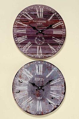 """Design Wanduhr """"Paris oder USA""""  Glas rund 34cm vintage shabby antik nostalgie"""