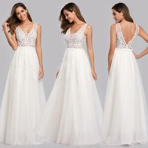 Ever-pretty-White-Bridesmaid-Dress-Formal-A-line-Applique-Evening-Gown-Prom-7544