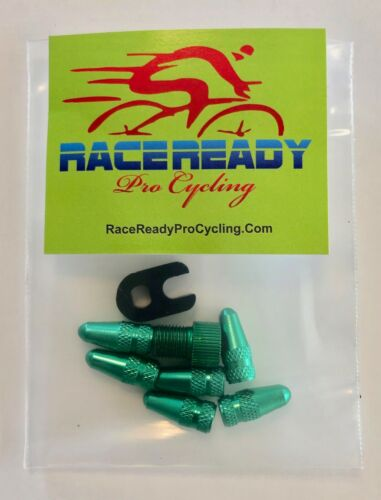6 Bike Presta Alloy Valve Caps. /& Presta Adapter /& Valve Core Tool ..MTB..Green