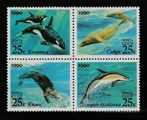 Dolphins block of 4 mnh stamps 1990 Russia #5933-6