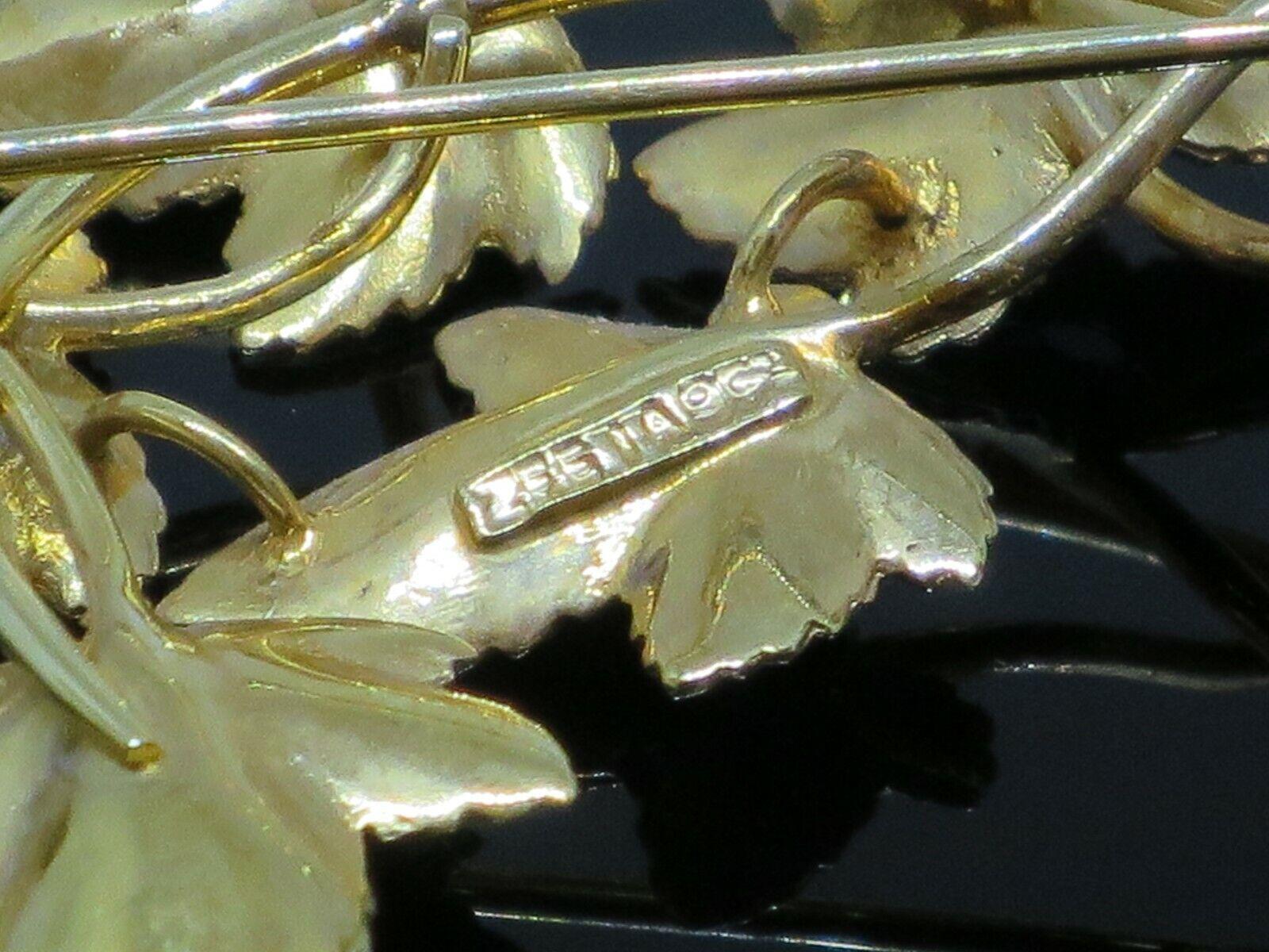 Vintage 0.5CTW Garnet 9K Yellow Gold Brooch Pin, … - image 8