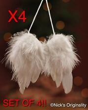 SET OF 4 Beautiful Feather Angel Wing Christmas Tree Decoration Hanging Ornament