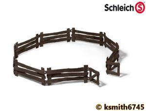 Brillant Schleich En Bois Look Clôture Avec Portail Jouet En Plastique Animal Confinement * Nouveau ????-afficher Le Titre D'origine