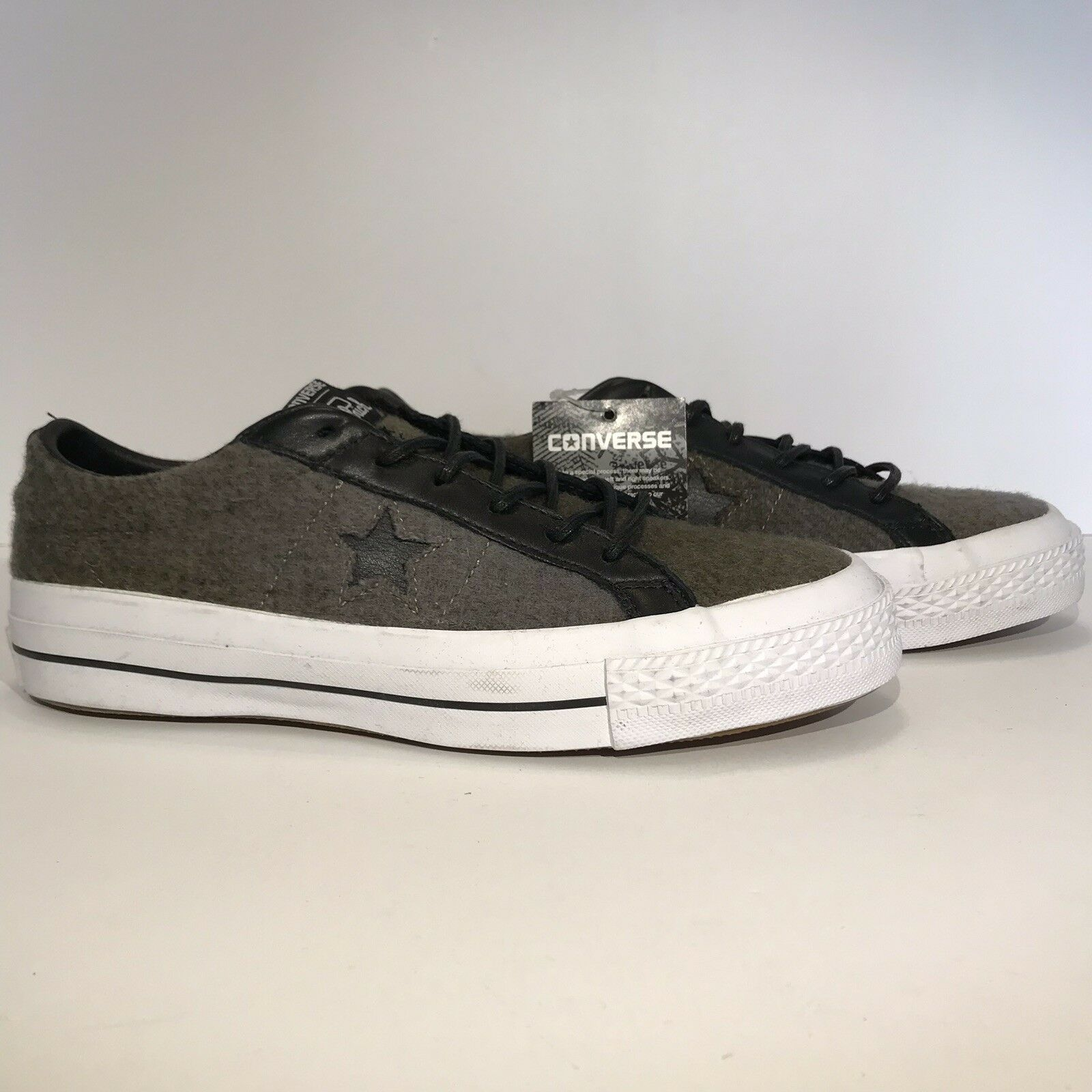 New Converse One Star Woolrich Ox 154036c Men shoes Size 5 Jute Herbal Black