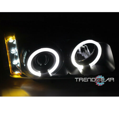 SILVERADO CCFL HALO LED BLACK//AMBER PROJECTOR HEAD LIGHT+BUMPER+8K HID KIT 2003