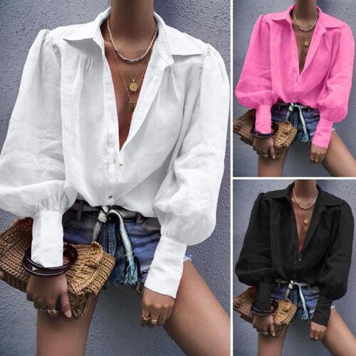 Damen Langarm Puffärmel Bluse Hemd Tops Kragen Knopf Elegant Prom Cotton Shirts