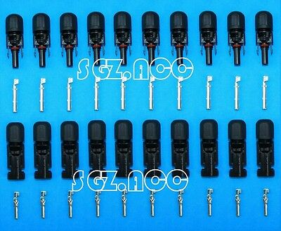US 10 QTY MC4 30A Solar Panel Connector Pairs Male Female Set PV Cable Wire
