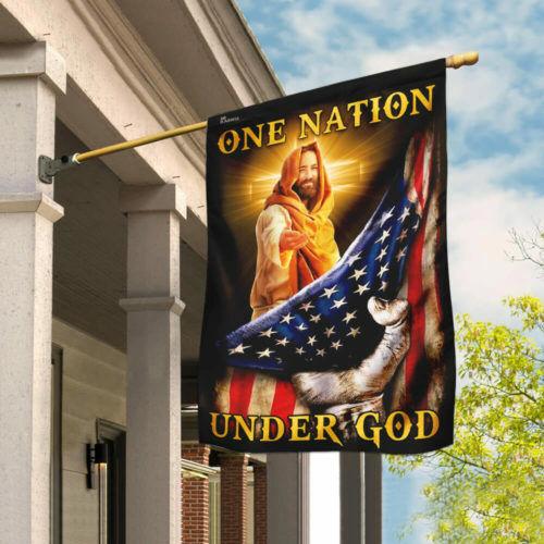 One Nation Under God Flag MLH816F House Flag Garden Flag American Flag Jesus