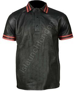 Hombres-Hot-Real-Genuino-Negro-de-Cuero-del-zurriago-Polo-Estilo-Camisa-Bluff-Gay-Cualquier-Tamano