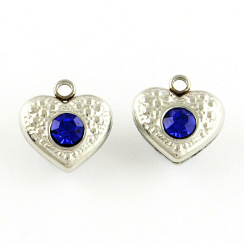 MT304 5 Stainless Steel Heart Charms with Inlaid Blue Rhinestones Two Sided