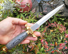 Traditional Medieval BLACK HANDLED ATHAME Ritual Knife Sheath Wicca SCA