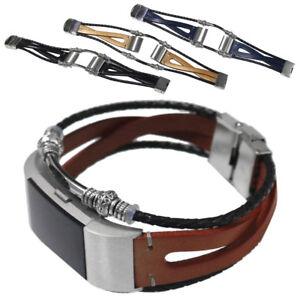 Mode-Leder-Armband-Uhrenarmband-Ersatz-Strap-fuer-Fitbit-Charge-2