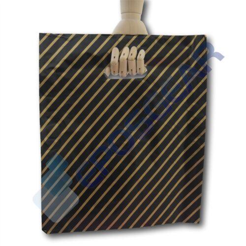 200 Grande Negro Y Oro A Rayas tienda de regalos del Mercado Plástico Portador Bolsas Boutique