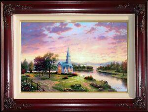 Thomas-Kinkade-Sunrise-Chapel-18x27-S-N-Framed-Limited-Edition-Canvas-Paintings