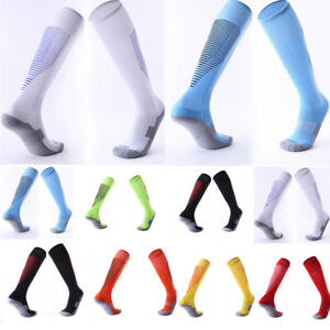 3fc6cf088bc Mens Boys Sports Football Soccer Plain Long Socks Cotton Knee High ...