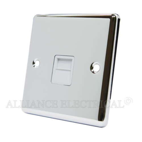 Polished Mirror Chrome Classical Telephone Socket Master Slave BT Phone Outlet