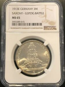 1913E-GERMANY-3M-SAXONY-LEIPZIG-BATTLE-NGC-MS-65