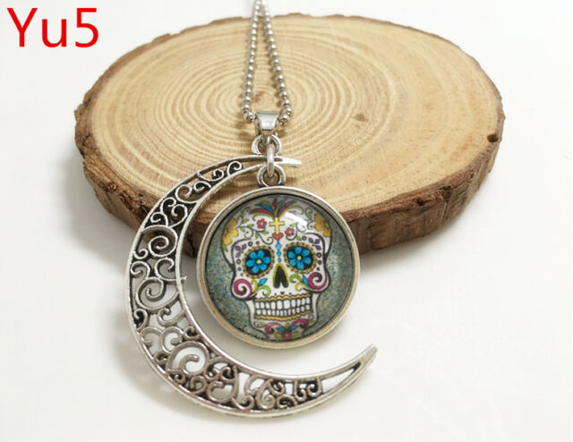 Handmade white bling sugar skull Hollow Moon Pendant Silver Necklace#Yu5