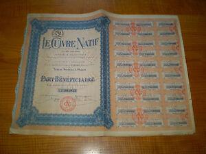 action : Le Cuivre Natif , part bénéficiaire n° 1922 - France - EBay Part avec planche de coupons - France