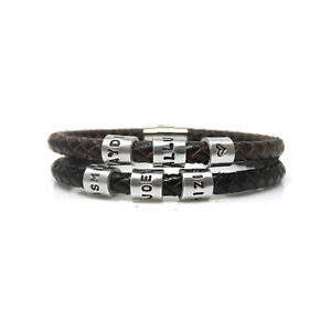 78d38d77d1731 Details about Mens Personalised Leather Bracelet with Hand Stamped Name  Beads - Free Delivery