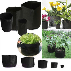 Black-Fabric-Pots-Round-Aeration-Pot-Container-Grow-Bag-Plant-Vegetable-Pouch
