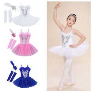 440e39f58a68 Details about Girls Sequin Ballet Tutu Skirt Dress Gloves Headband  Ballerina Dance Costume