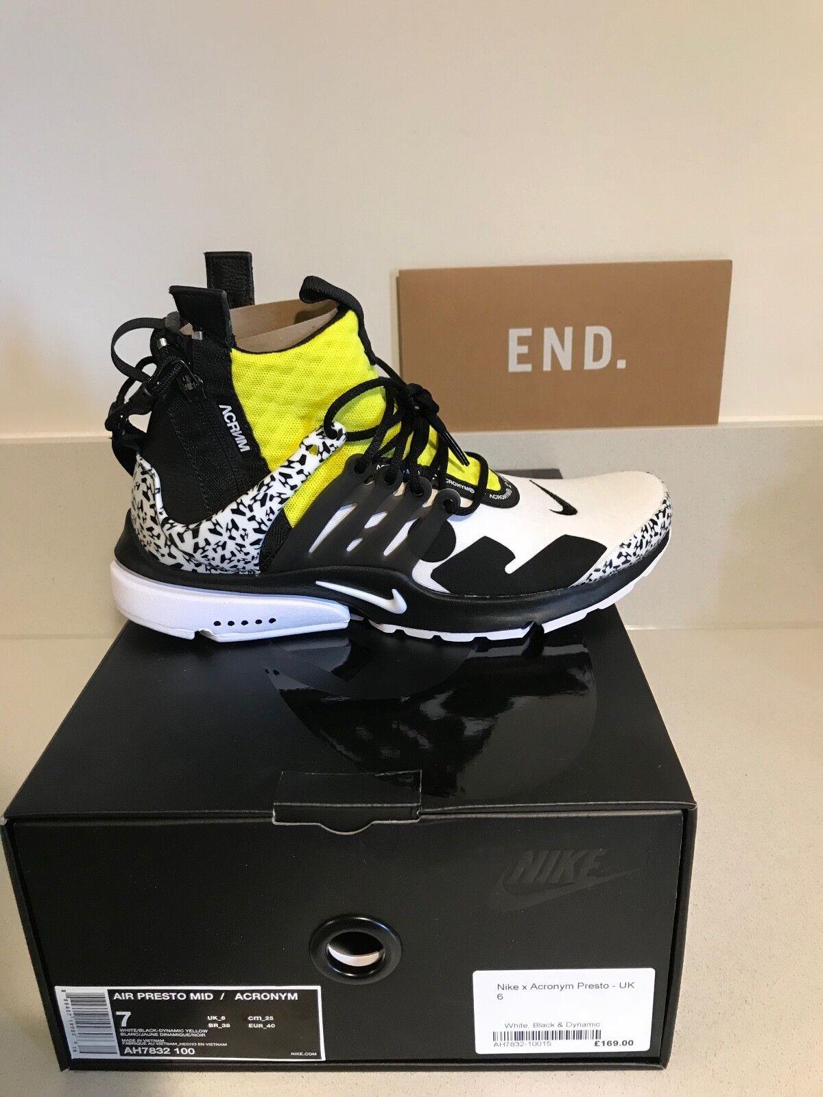 Nike Air Presto x acronimo dinamico Giallo Nero Bianco Uk 6 EUR 40 US 7 in mano