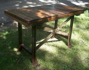 Image Is Loading Antique Bar Table Desk Workbench Kitchen Island Industrial