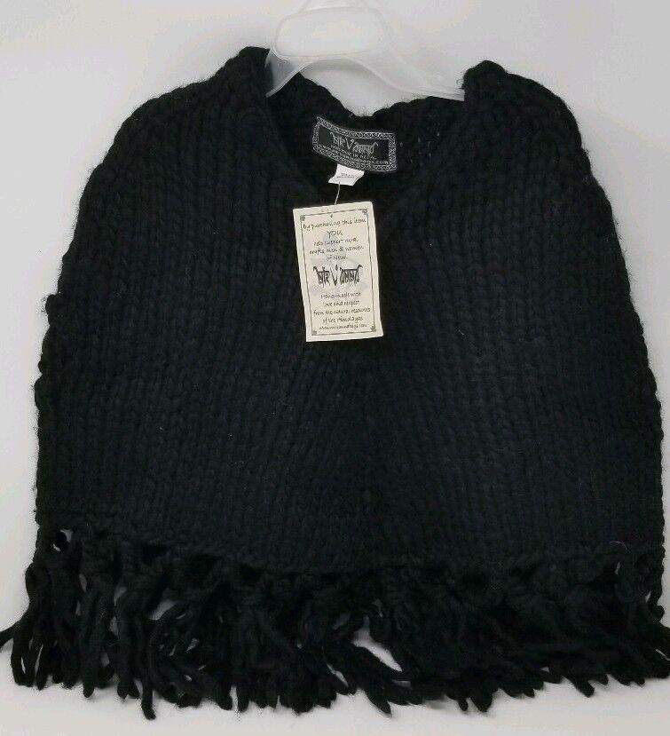 Nirvanna 100% Wool Handmade Poncho - Nepal NWT Black - Medium