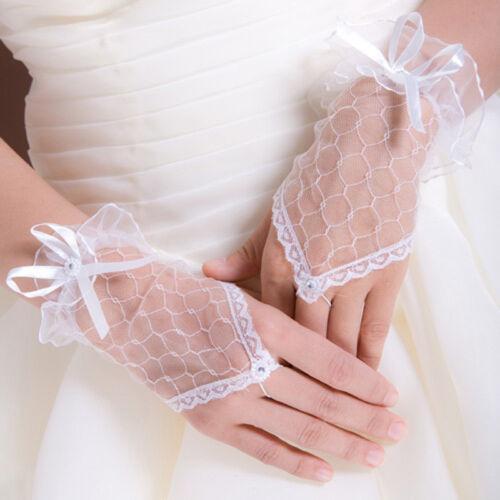 2x Short White Flower Lace Gloves Fingerless Glove Girls Prom 1st Holy Communion