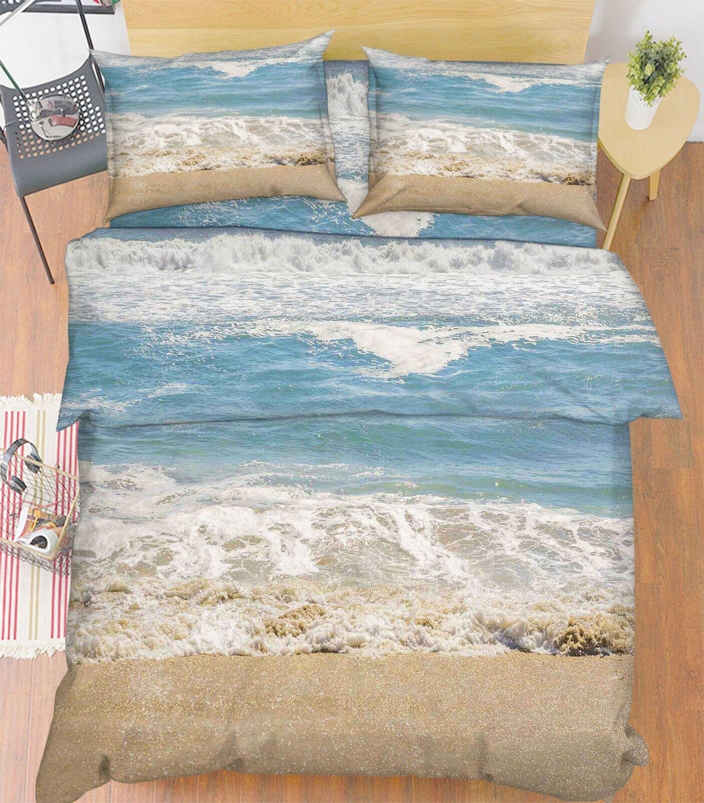 3D Naturally Beach 66 Bed Pillowcases Quilt Duvet Cover Set Single King UK Lemon