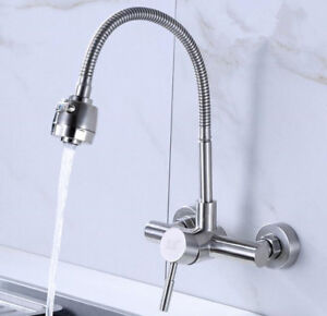 Brushed Nickel Kitchen Faucet Taps Stainless Steel Sink Mixer 2