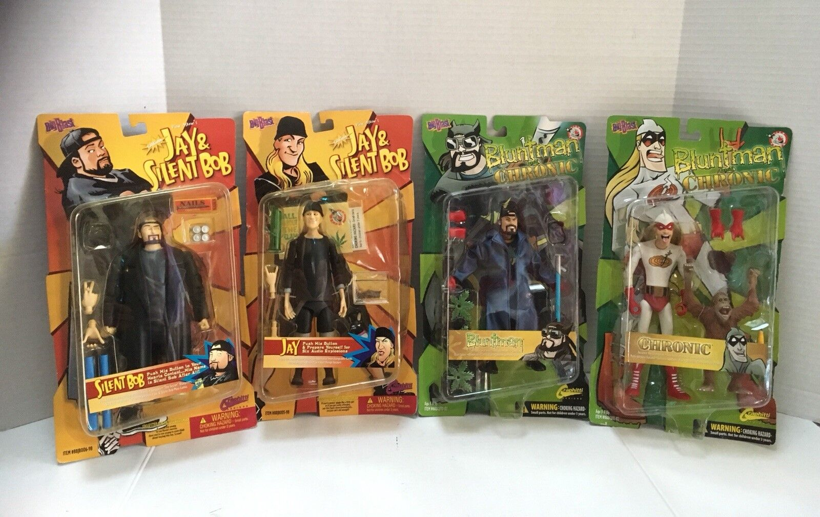 Blauntman And Chronic - Silent Bob and Jay - 8  Action Figures - (2002) NEW